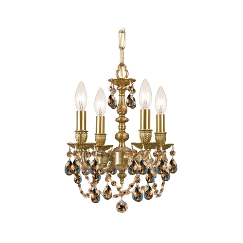 Crystorama Lighting Crystal Mini-Chandelier in Aged Brass Finish 5504-AG-GTS