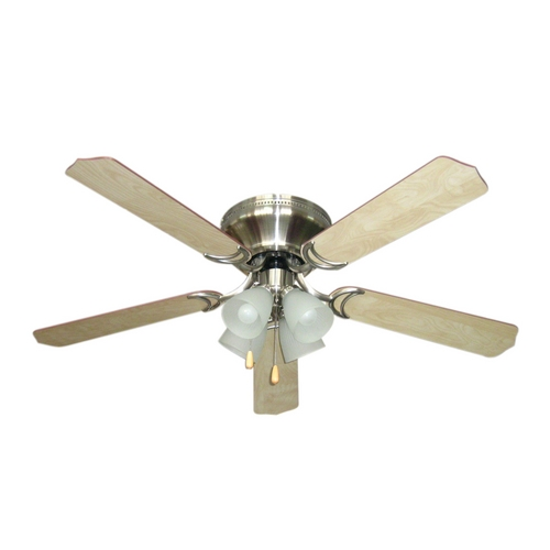 Craftmade Lighting Ceiling Fan with Light with Alabaster Glass in Brushed Nickel Finish BRC52BNK5C