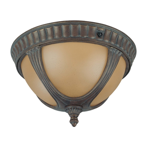 Nuvo Lighting Close To Ceiling Light with Amber Glass in Fruitwood Finish 60/3907
