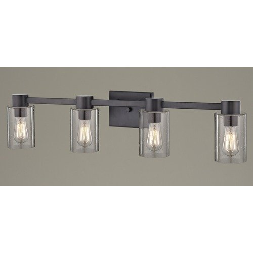 Design Classics Lighting 4-Light Seeded Glass Bathroom Light Bronze 2104-220 GL1041C