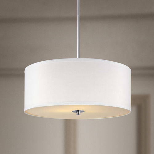 Design Classics Lighting Contemporary Pendant Light with White Drum Shade in Chrome Finish DCL 6528-26 SH7566 KIT