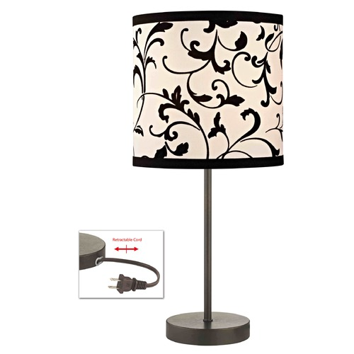 Design Classics Lighting Bronze Table Lamp with Black & White Filigree Drum Shade 1904-604 SH9513