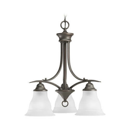 Progress Lighting Progress Chandelier with White Glass in Antique Bronze Finish P4324-20EBWB