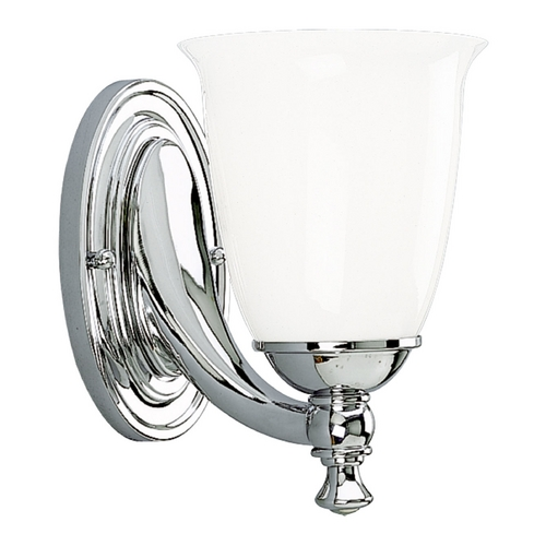 Progress Lighting Progress Sconce Wall Light with White Glass in Chrome Finish P3027-15