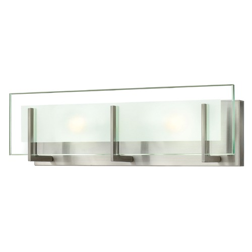 Hinkley Lighting Modern Bathroom Light with Clear Glass in Brushed Nickel Finish 5652BN