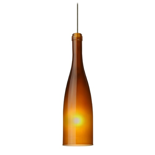 Besa Lighting Besa Lighting Botella Bronze LED Mini-Pendant Light with Oblong Shade 1XT-1684AF-LED-BR