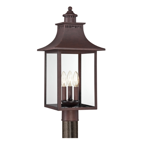 Quoizel Lighting Post Light with Clear Glass in Copper Bronze Finish CCR9010CU