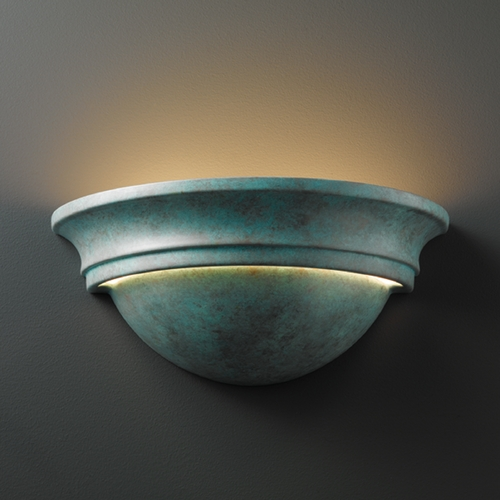 Justice Design Group Sconce Wall Light in Verde Patina Finish CER-1515-PATV