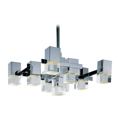 ET2 Lighting Nova LED Polished Chrome LED Pendant Light with Square Shade E31206-75PC