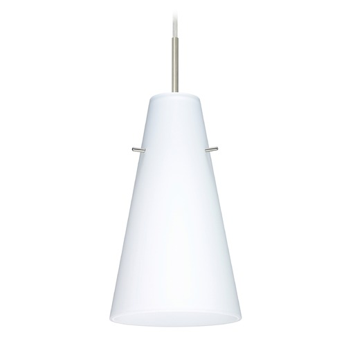 Besa Lighting Besa Lighting Cierro Satin Nickel LED Mini-Pendant Light with Conical Shade 1JT-412407-LED-SN