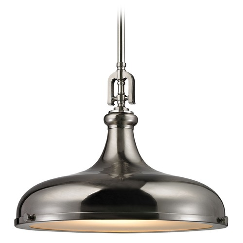 Elk Lighting Elk Lighting Rutherford Brushed Nickel Pendant Light with Bowl / Dome Shade 57052/1