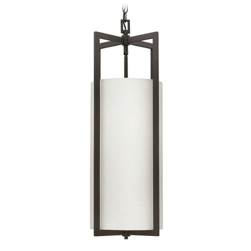 Hinkley Lighting Hinkley Lighting Hampton Buckeye Bronze Pendant Light with Cylindrical Shade 3212KZ-GU24