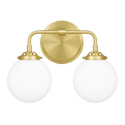 Quoizel Lighting Quoizel Lighting Landry Satin Brass 2-Light Bathroom Light with Opal Glass LRY8615Y
