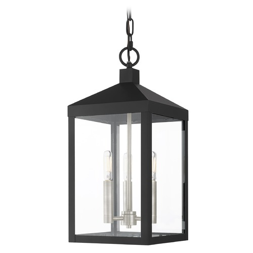 Livex Lighting Livex Lighting Outdoor Hanging Light in Black with Brushed Nickel 20593-04