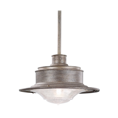 Troy Lighting Outdoor Hanging Light with Clear Glass in Old Galvanize Finish F9396OG