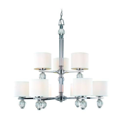 Troy Lighting Modern Chandelier with White Shades in Polish Chrome Finish F1589PC