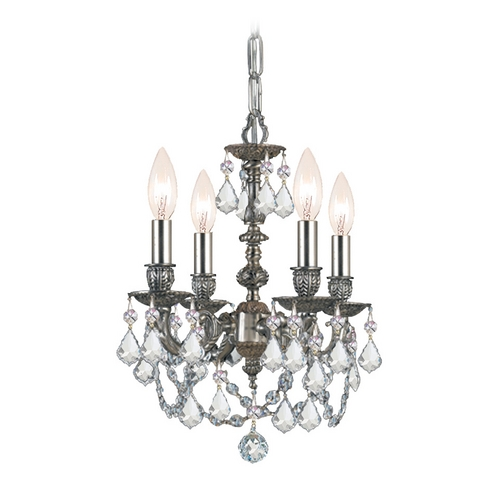 Crystorama Lighting Crystal Mini-Chandelier in Pewter Finish 5504-PW-CL-MWP