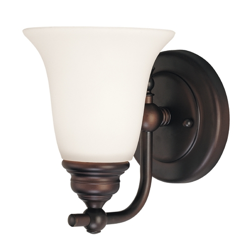 Dolan Designs Lighting Bronze Sconce Wall Light with White Bell Glass 3241-30