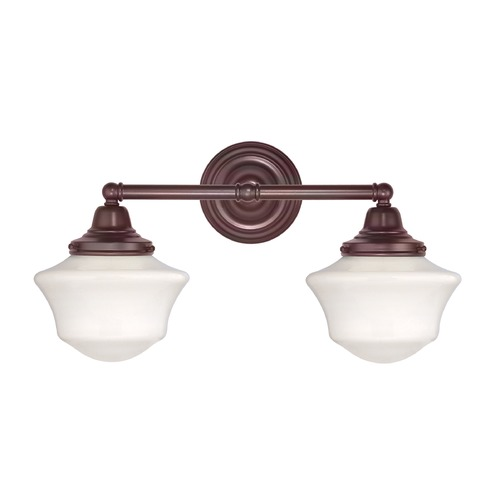 Design Classics Lighting Schoolhouse Bathroom Light with Two Lights in Bronze Finish WC2-220 / GC6