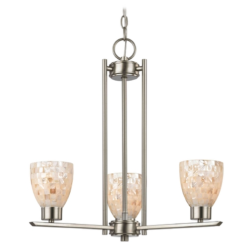 Design Classics Lighting Chandelier with Mosaic Glass - 3-Lights 1121-1-09 GL1026MB