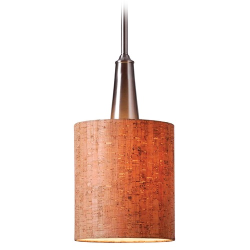 Kenroy Home Lighting Kenroy Home Lighting Bulletin Brushed Steel Mini-Pendant Light with Cylindrical Shade 93011BS