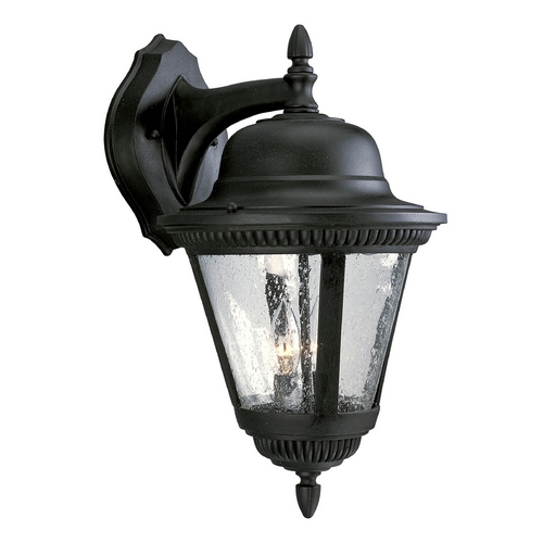 Progress Lighting Seeded Glass Outdoor Wall Light Black Progress Lighting P5864-31