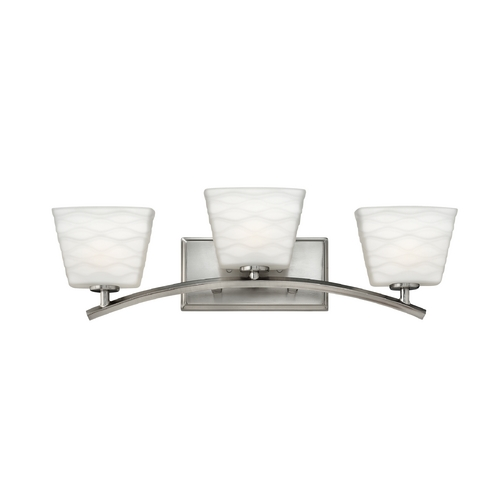 Hinkley Lighting Bathroom Light with White Glass in Brushed Nickel Finish 5203BN
