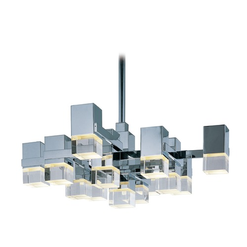 ET2 Lighting Nova LED Polished Chrome LED Pendant Light with Square Shade E31207-75PC