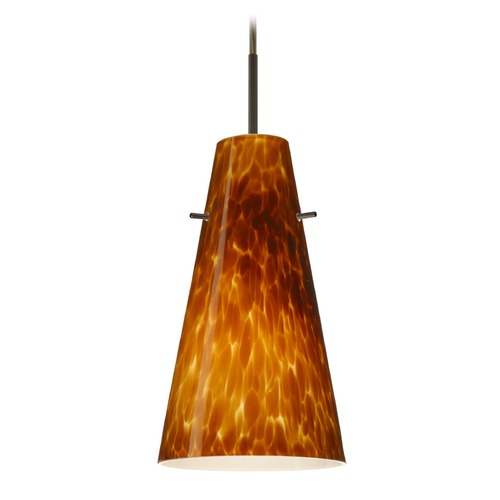 Besa Lighting Besa Lighting Cierro Bronze LED Mini-Pendant Light with Conical Shade 1JT-412418-LED-BR