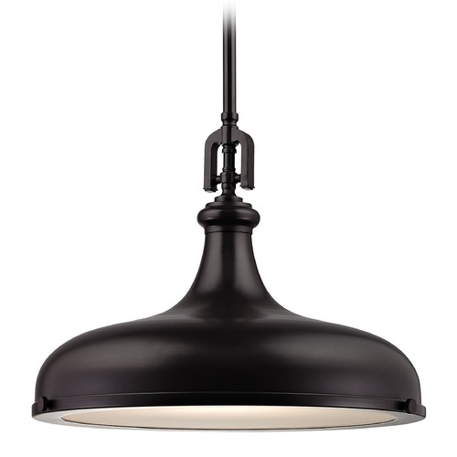 Elk Lighting Elk Lighting Rutherford Oil Rubbed Bronze Pendant Light with Bowl / Dome Shade 57062/1