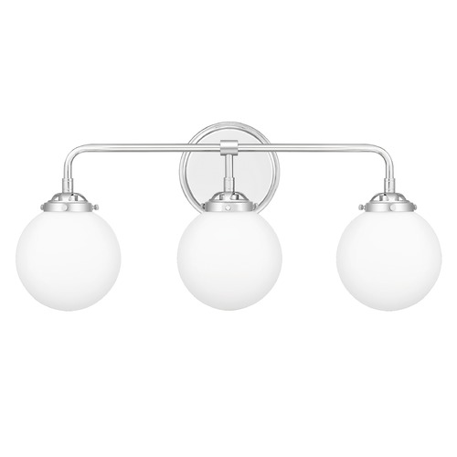Quoizel Lighting Quoizel Lighting Landry Polished Chrome 3-Light Bathroom Light with Opal Glass LRY8624C