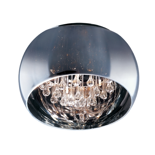 ET2 Lighting Modern Flushmount Light with Clear Glass in Polished Chrome Finish E21201-10PC