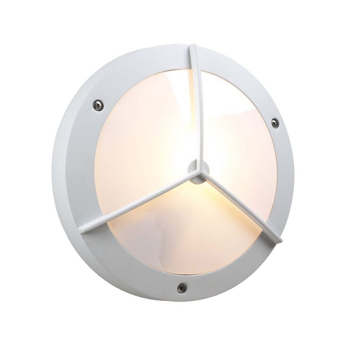 PLC Lighting Modern Outdoor Wall Light with White Glass in White Finish 1860 WH