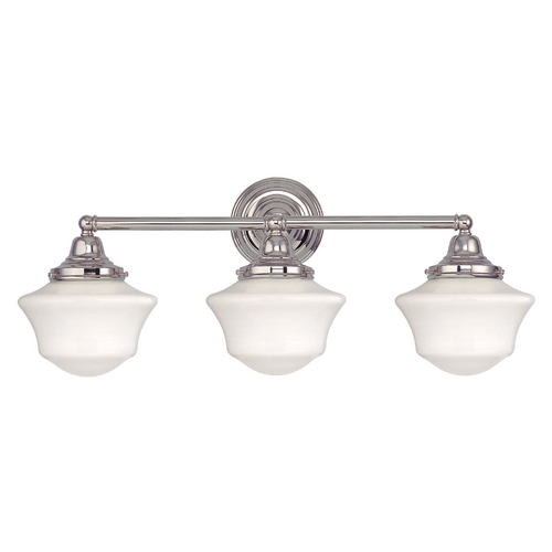 Design Classics Lighting Schoolhouse Bathroom Light with Three Lights in Polished Nickel WC3-15 / GC6