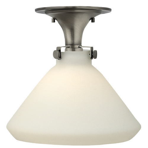 Hinkley Lighting Semi-Flushmount Light with White Glass in Antique Nickel Finish 3141AN