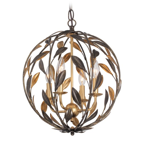 Crystorama Lighting Crystorama Lighting Broche English Bronze / Antique Gold Pendant Light 504-EB-GA