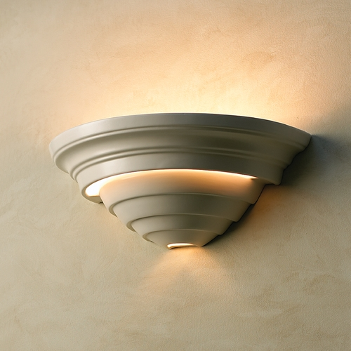 Justice Design Group Sconce Wall Light in Matte White Finish CER-1555-MAT