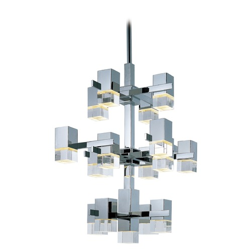 ET2 Lighting Nova LED Polished Chrome LED Pendant Light with Square Shade E31209-75PC