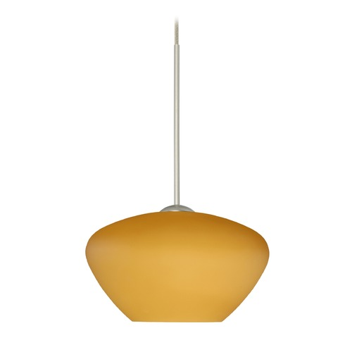 Besa Lighting Besa Lighting Peri Satin Nickel LED Mini-Pendant Light with Bell Shade 1XT-541080-LED-SN