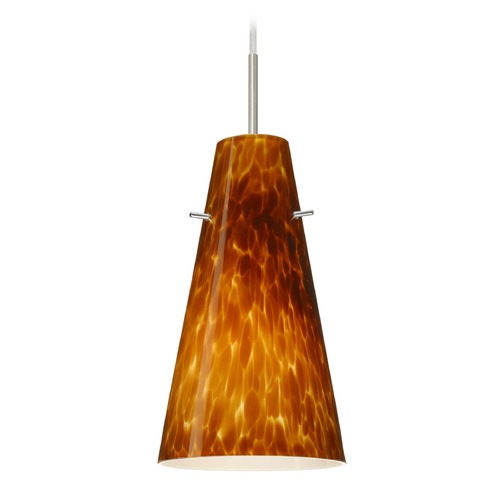 Besa Lighting Besa Lighting Cierro Satin Nickel LED Mini-Pendant Light with Conical Shade 1JT-412418-LED-SN