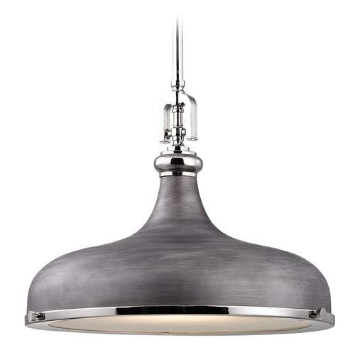 Elk Lighting Elk Lighting Rutherford Polished Nickel/weathered Zinc Pendant Light with Bowl / Dome Shade 57082/1