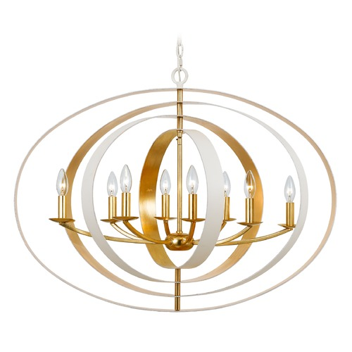 Crystorama Lighting Crystorama Lighting Luna Matte White, Antique Gold Pendant Light 588-MT-GA