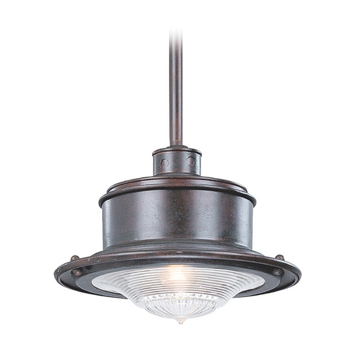 Troy Lighting Outdoor Hanging Light with Clear Glass in Old Galvanize Finish F9395OG