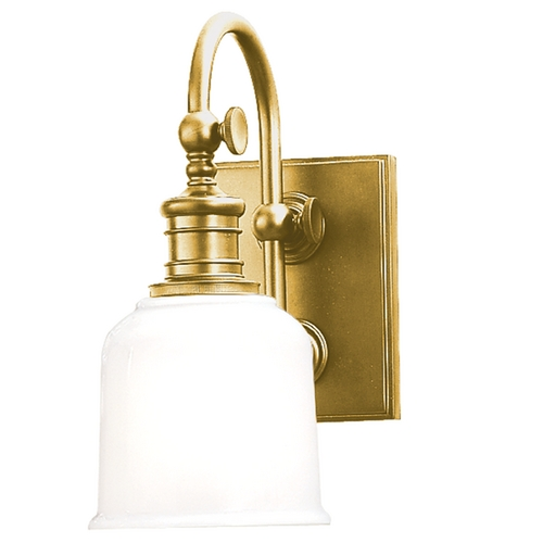 Hudson Valley Lighting Sconce with White Glass in Aged Brass Finish 1971-AGB