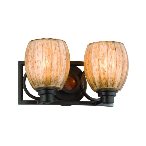 Troy Lighting Bathroom Light with Amber Glass in Soleil Bronze Finish B2222SB