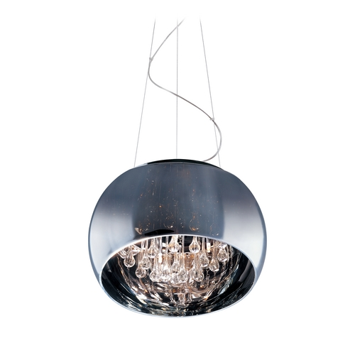 ET2 Lighting Modern Drum Pendant Light with Clear Glass in Polished Chrome Finish E21205-10PC