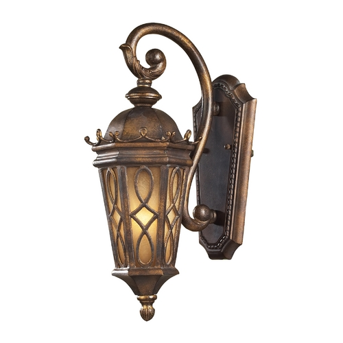 Elk Lighting Outdoor Wall Light with Beige / Cream Glass in Hazlenut Bronze Finish 42000/1