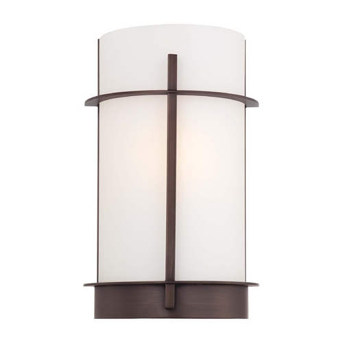 Minka Lavery Sconce Wall Light with White Glass in Copper Bronze Patina Finish 6460-647
