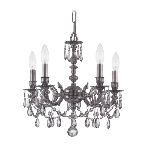Crystorama Lighting Crystal Mini-Chandelier in Pewter Finish 5504-PW-CL-SAQ