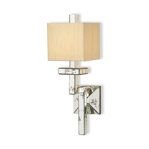 Currey and Company Lighting Modern Plug-In Wall Lamp in Viejo Silver Leaf Finish 5039